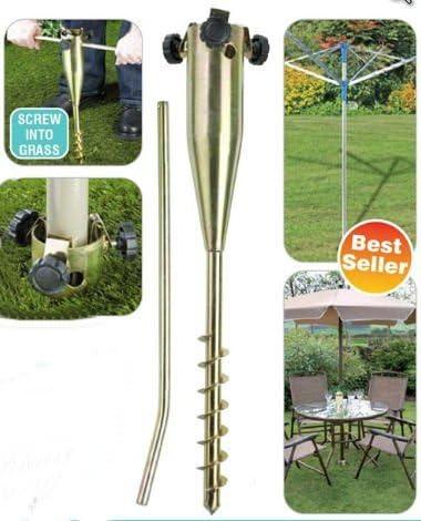 Garden Pro asta per bandiere mangiatoia per uccelli puntello per giardino realizzato in metallo placcato in zinco utilizzabile come base per stendibiancheria ombrellone
