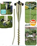 DWD Heavy Duty Rust Resistant Zinc Plated Screw-In Ground Spike for Rotary Washing Line, Garden Parasol, Bird Feeders, Gazebo, Flags, No Need for Concrete