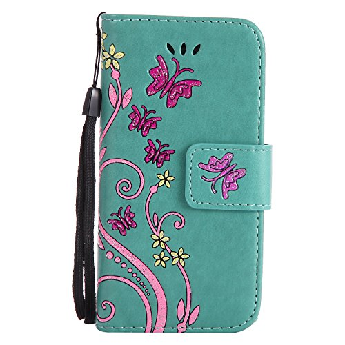 iPhone 5c Case, TIPFLY Luxury Folio Flip Multipurpose Wallet Case with Card Pocket Slot, Flip Book Style Cover with Kickstand, Magnetic Clasp Closure, Lanyard Case for Apple iPhone 5c(Green)