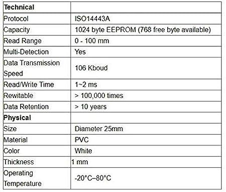 25 mm di diametro in PVC  bianco Waizmann.IDeaS/® RFID NFC Tag Transponder impermeabile autoadesivo 13,56 MHz COIN 1 K