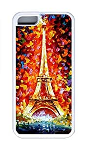 iPhone 5C Case, Personalized Custom Rubber TPU White Case for iphone 5C - Eiffel Painting Cover