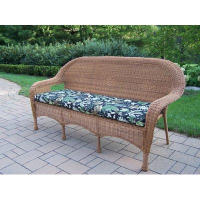 Oakland Living Resin Wicker 3-Seater Sofa with Cushion, Natural