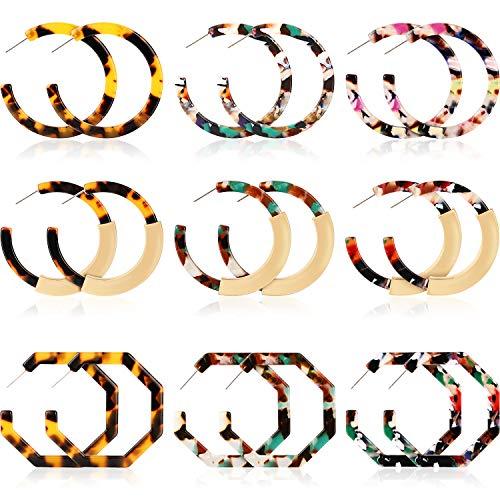 Yaomiao 9 Pairs Women Acrylic Earrings Geometric Resin Hoop Earrings Bohemia Statement Earrings Mottled Tortoise Shell Ear Jewelry for Daily Usage