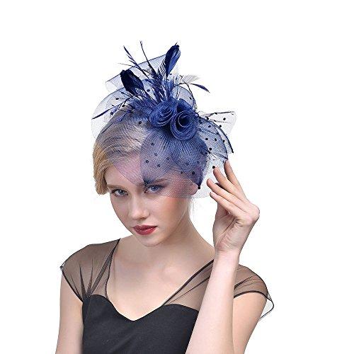 Dainzuy Fascinator Hat Flower Feather Net Mesh Kentucky Derby Tea Party Headwear Hair Clip Hairband for Women Girls Navy