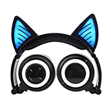 Wireless Bluetooth Cat Ear Headphones,Ocuya Flashing Glowing Cosplay Fancy Cat Headphones Foldable Over-Ear Earphone with LED Flash light for iPhone 7/6S/iPad,Android Mobile Phone,Macbook (black)