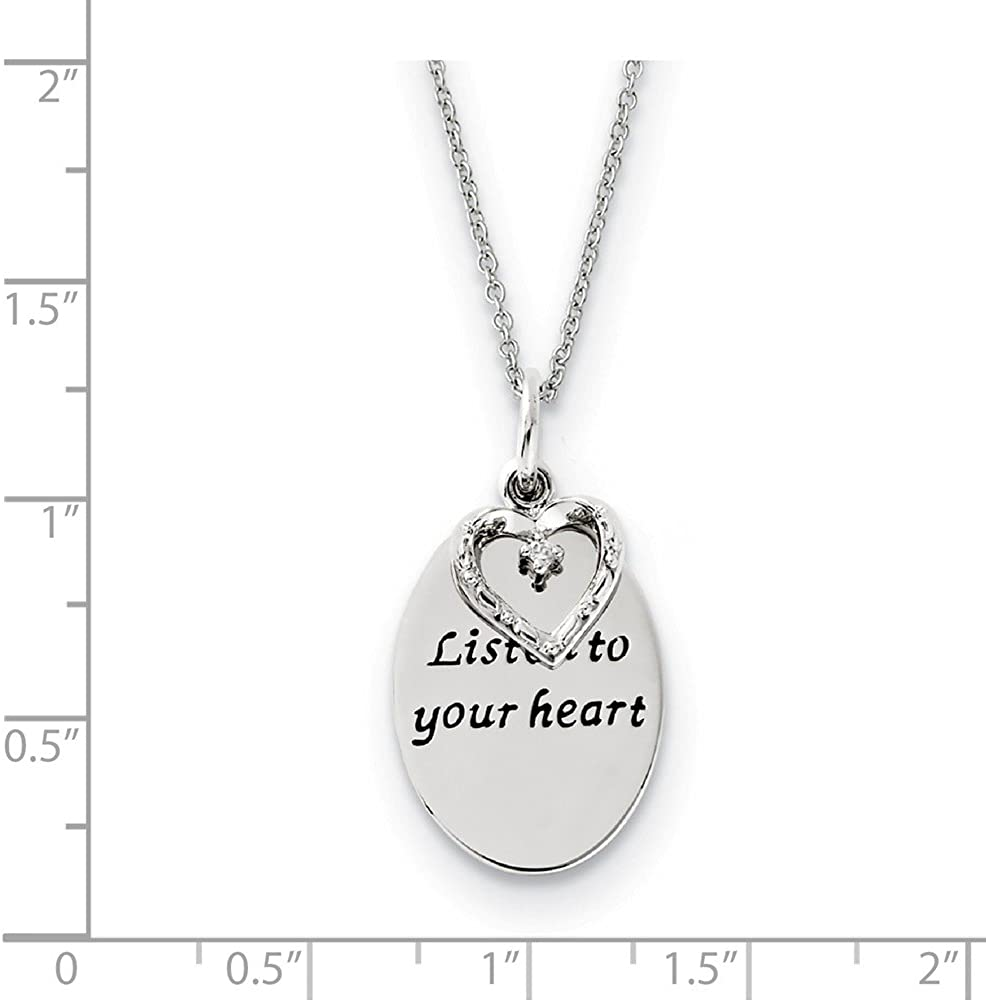 18 Sentimental Expressions Sterling Silver Antiqued CZ Listen To Your Heart Necklace