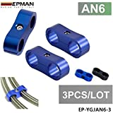 EPMAN AN6 13MM Fuel Oil Braided Hose Separator Clamp Fitting Adapter (Blue , Pack Of