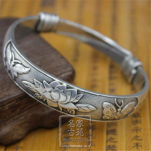 Antique Butterfly Bracelet - ZAMTAC The Qing Dynasty Antique Retro Bracelet Jewelry Miao Silver Jewelry Interface Butterfly Lotus Cupronickel Bracelet