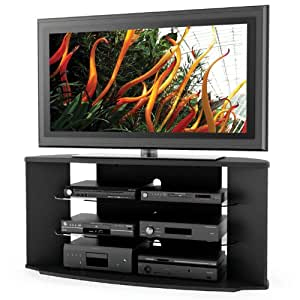 sonax rx 5500 rio 55 inch midnight black tv stand with two glass shelves kitchen. Black Bedroom Furniture Sets. Home Design Ideas