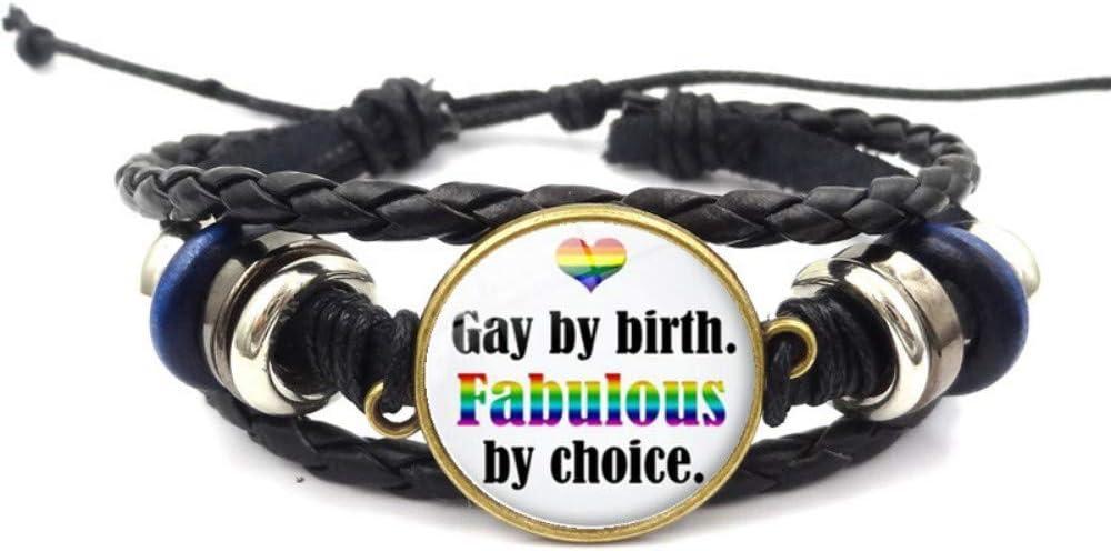 ESCYQ Hombre Pulsera Pulseras Brazalete Cadena,Rainbow Orgullo Tiempo Gem Hand-Woven Negro Pulsera Collares Artesanales para Regalo del Día del Padre