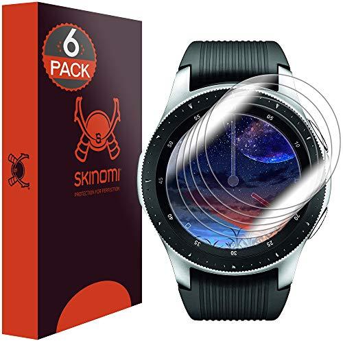 Skinomi TechSkin [6-Pack] Clear Screen Protector for Samsung Galaxy Watch (46mm) [Full Coverage] Anti-Bubble HD TPU Film