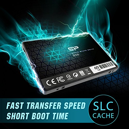 Silicon Power 60GB SSD S55 TLC (SLC Cache Performance Boost) SATA III 2.5'' 7mm (0.28'') Internal Solid State Drive- Free-download SSD Health Monitor Tool Included (SP060GBSS3S55S25) by Silicon Power (Image #2)
