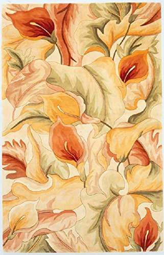 KAS Oriental Rugs Catalina Collection Calla Lillies Area Rug, 5' x 8', Ivory
