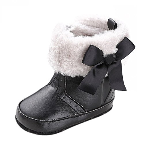 Baby Girls Bowknot Winter Snow Boots (Black) - 7