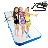 Matladin 10'x3.3' Gymnastics Exercise Mat Inflatable Tumbling Mats, Air Tumbling Track with Electric Pump for Home use, Gymnastics Training, Beach, Yoga, Water (Pink)