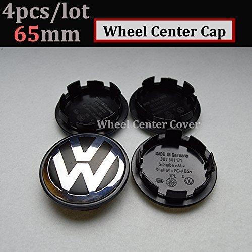 Hanway 4Pcs 56mm 60mm 65mm 70mm vw Wheel Center cap Car Wheel Hub Caps Volkswagens LOGO Badge Emblem VW Golf Jetta Mk5 Passat Scirocco B6 SANTANA (black, 65mm)