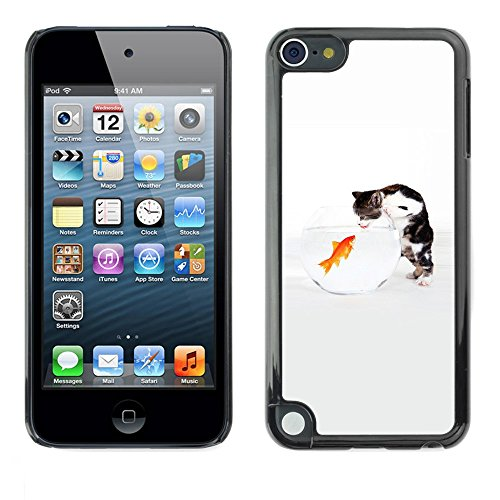 Soft Silicone Rubber Case Hard Cover Protective Accessory Compatible with Apple IPod Touch 5 - Funny Cute Cat & Goldfish