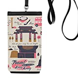 Hong Kong Travel China Famous Faux Leather Smartphone Hanging Purse Black Phone Wallet Gift