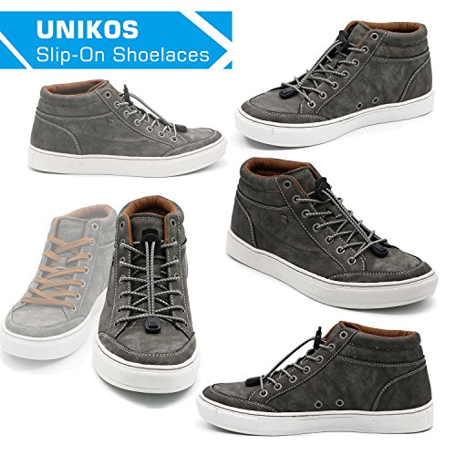 No Tie Shoelaces, UNIKOS Elastic Shoe Laces for Kids and Adults for Sneaker Marathon Running Working Shoe Hiking Boots (Gray White . BK) by UNIKOS (Image #7)