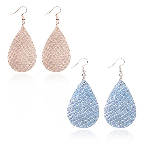 Teardrop Leather Earrings Soft and light Genuine Leather Teardrop Earrings Leaf Drop Earrings Antique Looking Various Colors 2 Pairs Pack for women (Champagne+Blue)