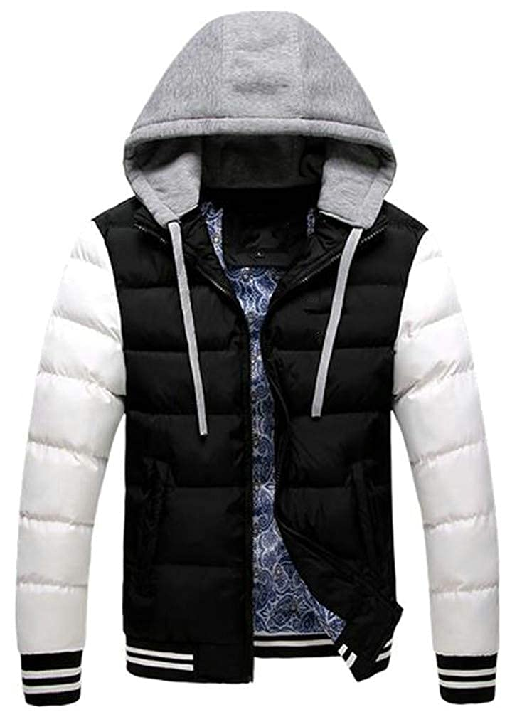 Hajotrawa Mens Quilted Raglan Sleeve Comfy Contrast Color Thicken Hooded Jacket Parka Coat