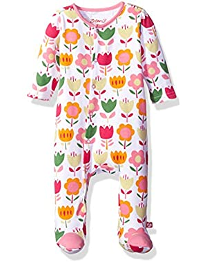 Baby Girls' Cotton Footie Bodysuit