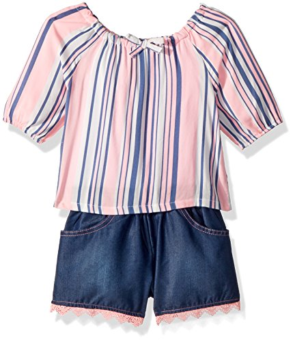 (Limited Too Girls' Toddler Fashion Top and Short Set, Woven Stripe Apricot lace Hem Multi Print 3T)