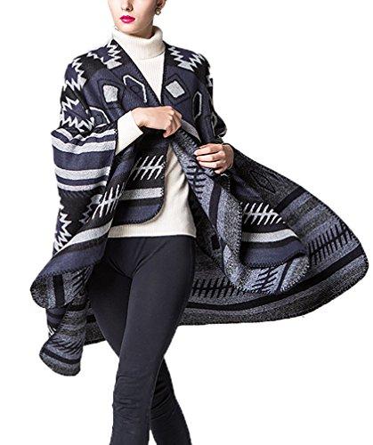 Scialle Forti Casual Inverno Reversibile Style Etno Mantelle Top Mantellina Cachemire Elegante Cardigan Cappotto Vintage Capes Nero Autunno Moda Taglie Poncho Knitted Pattern Donna Geometrie qBvPEfZn