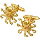 TOOGOO(R) Boutons de Manchette pour Hommes Boutons de manchette en Acier Ensemble De La Chemise De Acier - le Octopus Or