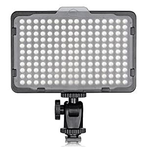CRAPHY 176 LEDs Photography On Camera Video Light with Dimmable High Power Panel and Filters for Canon, Nikon, Pentax, JVC, SLR, DV Camcorder