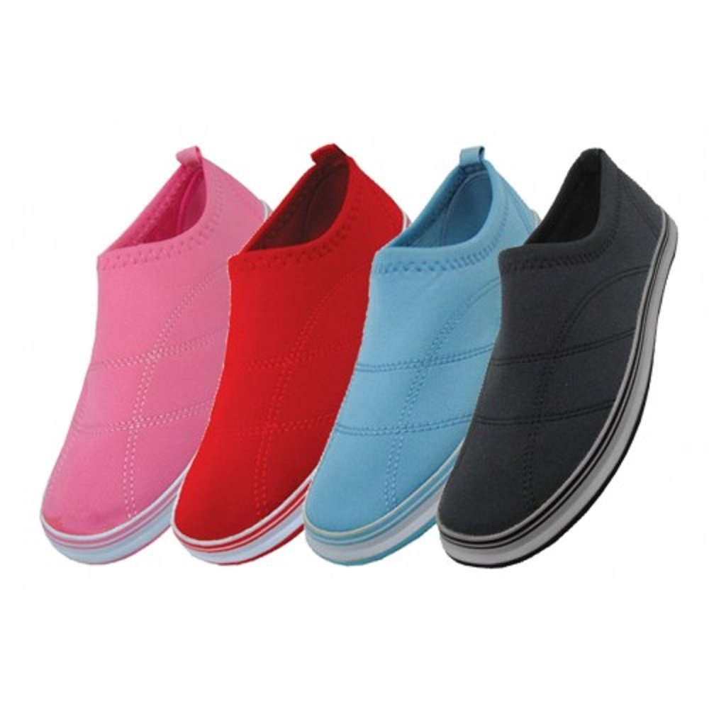 Wholesale Women's Solid Color Aqua Socks size 6-11 black, pink, light blue, red water shoes pool beach
