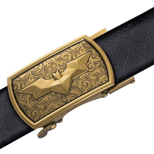 Dubulle Mens Italian Genuine Leather Belt with Removable Buckle Adjustable Automatic Buckle Belt Black Ratchet Belt for Men (DK-1004, waist size 42'' to 47'', belt 55''(140cm)) by Dubulle (Image #2)