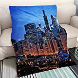 BEICICI Super Soft Flannel Thicken Blanket Chicago lakefront Skyline Cityscape at Night by Millenium Park with a Dramatic Cloudy Sky Sofa Bed or Bed 3D Printing Cool Quilt