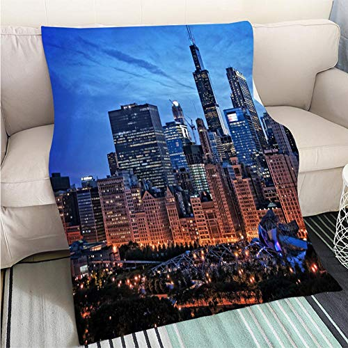 Chicago Millenium Park - BEICICI Super Soft Flannel Thicken Blanket Chicago lakefront Skyline Cityscape at Night by Millenium Park with a Dramatic Cloudy Sky Sofa Bed or Bed 3D Printing Cool Quilt