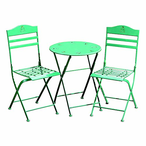Slatted Back Chairs - Whole House Worlds Farmers Market Children's Green Garden Set, 1 Table and 2 Chairs, Folding, Slatted Seats, Decorated Back and Table Top, Frog Art Details, Rust Resistant Powder Coated Iron, by WHW