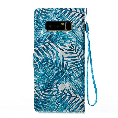 Lotuslnn Samsung Note8 caja del teléfono, caja de cuero de la PU cubierta de cierre magnético cubierta con Kickstand y ranuras para tarjetas de bolsillo en efectivo para Samsung Note8 - Flamingo pink Leaves