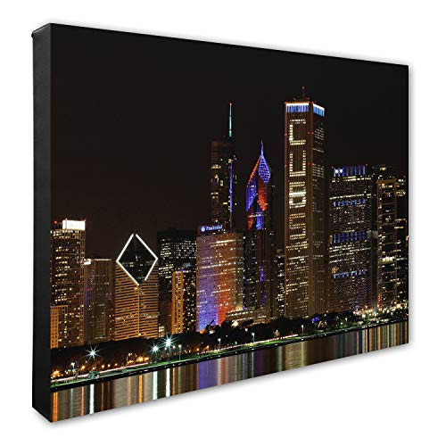 Photo File Chicago Skyline Celebrating The Cubs Canvas Photo, 16