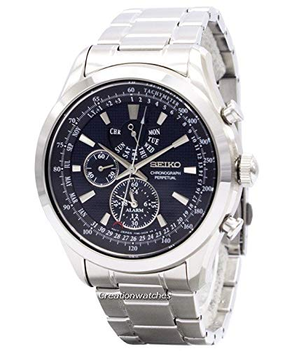 - Seiko SPC125P1 Neo Classic Alarm Perpetual Blue Dial Stainless Steel Mens Watch
