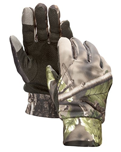 North Mountain Gear Mens Lightweight Camouflage Gloves With Touch Screen Compatible Fingers - Archery Accessories Hunting Outdoors Woodland Green