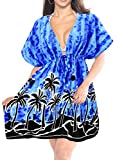 LA LEELA Soft Fabric Printed Spring Summer Cover Up OSFM 14-24 [L-3X] Royal Blue_1947