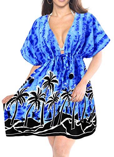 LA LEELA Soft Fabric Printed Spring Summer Cover Up OSFM 14-24 [L-3X] Royal Blue_1947 by LA LEELA