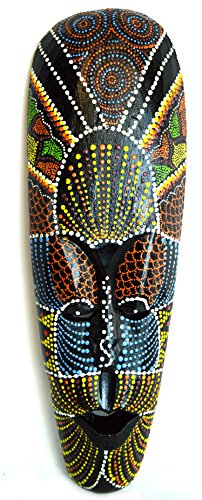 Decorative African Wood (AFRICAN HAND CARVED ABORIGINAL DOT ART WOODEN TRIBAL MASK WALL DECOR)