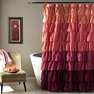 Lush Decor Ruffle Shower Curtain, 72 by 72-Inch, Peach/Plum