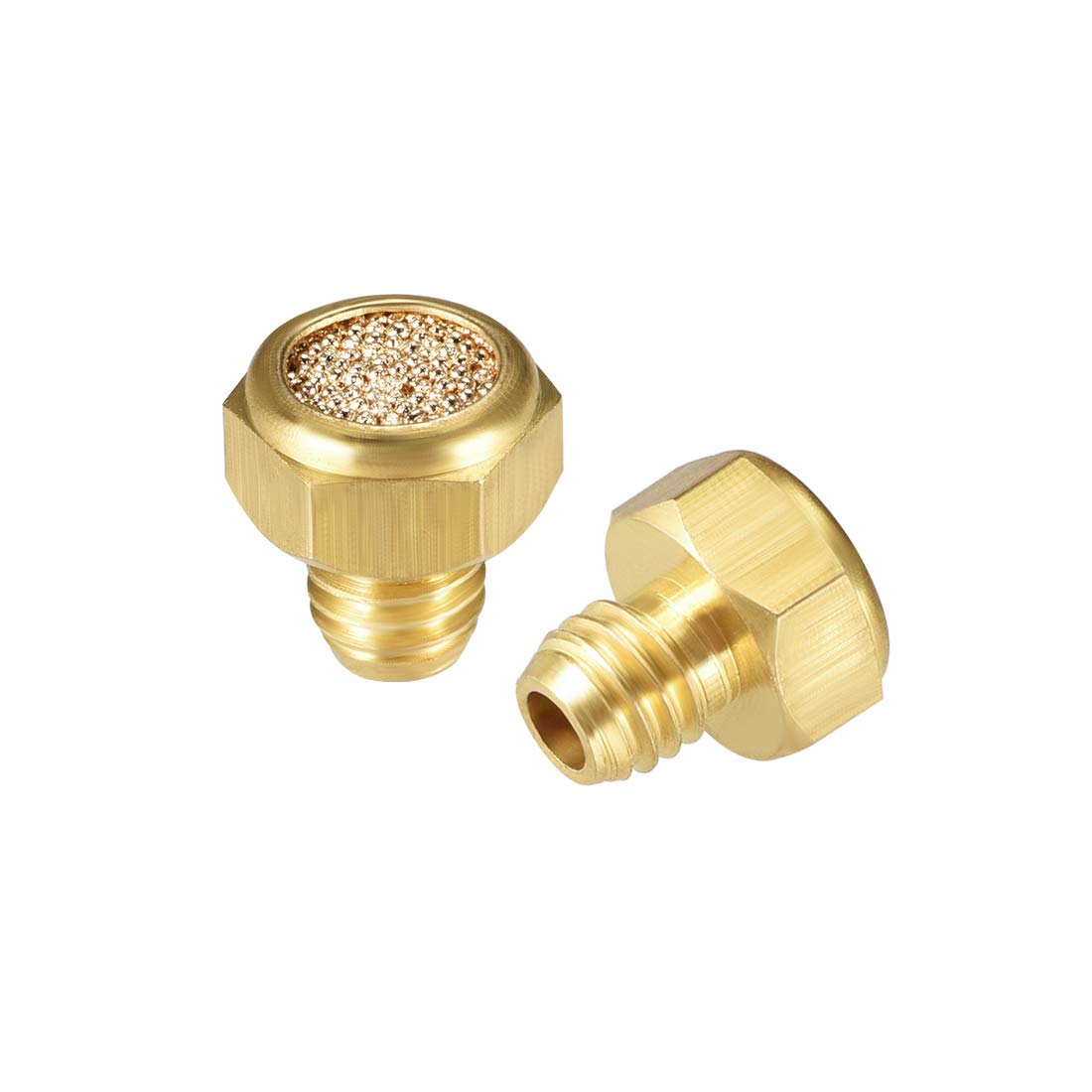 uxcell Sintered Bronze Exhaust Muffler G1//8 Brass Body Flat Pneumatic Air Muffler Air Flow Speed Controller Brass Flow Control Muffler 2pcs