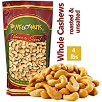 Dry Roasted Unsalted Cashews ~ 4 lbs. - Fancy Whole . No Oil . We Got Nuts