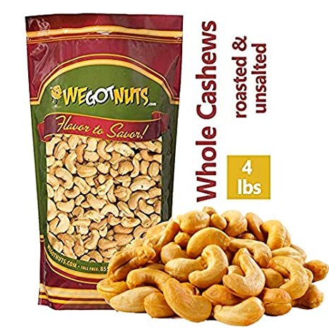 Amazon Com Dry Roasted Unsalted Cashews Premium Quality Kosher Dry Roasted Cashews By We Got Nuts No Oil Natural Healthy Rich Flavor Snack Gourmet Savory Flavor Air Tight