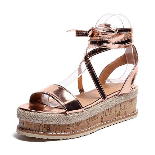 HKFV Damen Plateau Espadrilles Sandalen Mit Keilabsatz Knöchel Schnüren Schuh Schuhe Thick-Bottom Sandalen Damenschuhe Keilsandaletten Sandaletten Gold