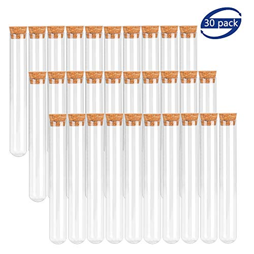 BTSD-home 20x150mm Plastic Test Tubes with Cork Stoppers for Scientific Experiments, Halloween, Christmas, Scientific Themed Kids Birthday Party Supplies, Decorate The House, Candy Storage(30 Pack)