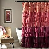 Lush Decor Ruffle Shower Curtain, 72 by 72-Inch, Peach/Plum