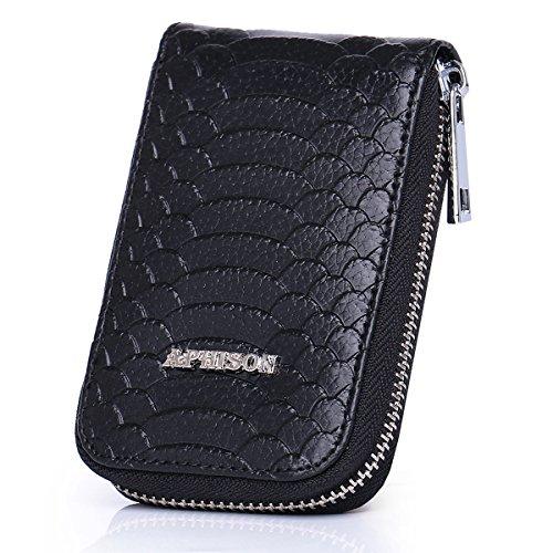 for Ladies Minimalist Wallet RFID Holder Blocking APHISONUK Credit Gift Compact Box Red Women Pocket Leather Case Black Organizer Wallet Card 61qf848